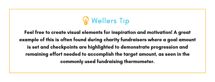 Wellers Tip: Feel free to create visual elements for inspiration and motivation! A great example of this is often found during charity fundraisers where a goal amount is set and checkpoints are highlighted to demonstrate progression and remaining effort needed to accomplish the target amount, as seen in the commonly used fundraising thermometer.