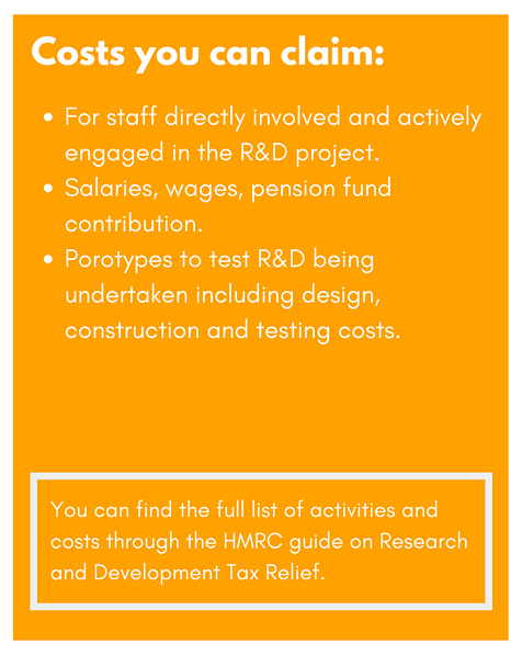List of R&D activities HMRC approve as tax relief claim