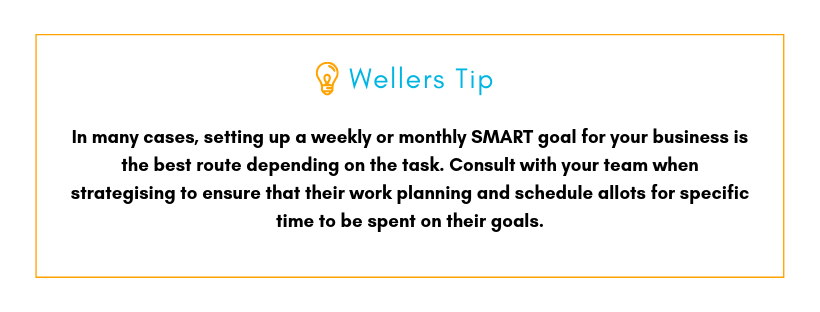 Wellers Tip: In many cases, setting up a weekly or monthly SMART goal for your business is the best route depending on the task. Consult with your team when strategising to ensure that their work planning and scheduling allots for specific time to be spent on their goals.