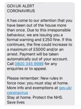 HMRC scam SMS Fine Image