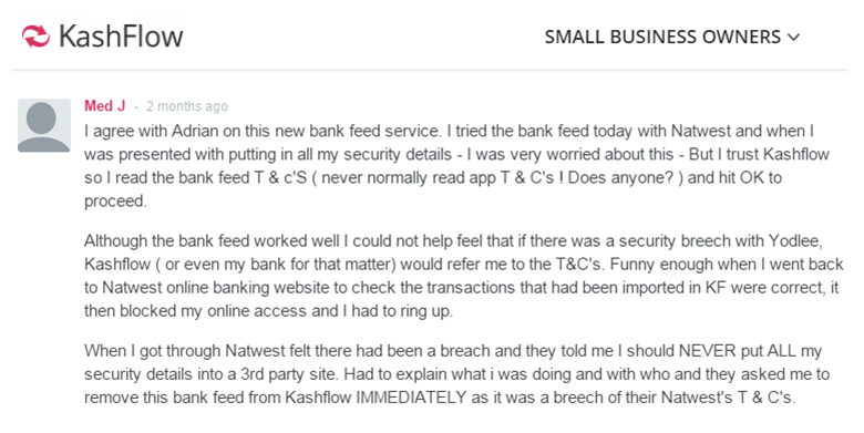 Bank feeds issue with Natwest and KashFlow